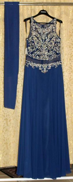 Alfonso Notaro abito lungo colore blu navy dettagli oro tagl