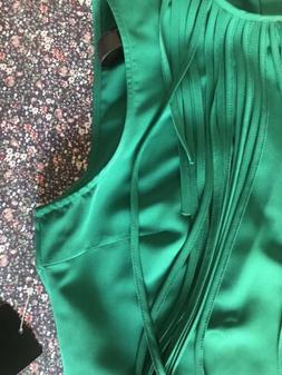 Abito Vestito zara Frange Verde Smeraldo