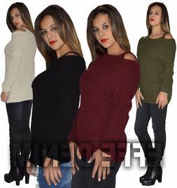 Maglione Donna Pullover Maglia Manica Barchetta Lunga Lana M