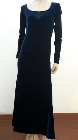 MARITHE FRANCOIS GIRBAUD abito lungo donna velluto liscio bl