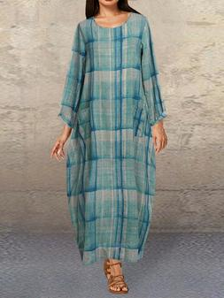 Plus Size Plaid Long Sleeve Casual Dress With Tasche