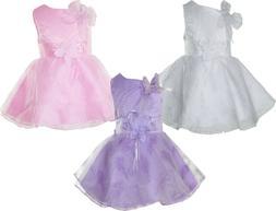 Ragazze Battesimo Vestito Festa Fiore Bambina Lilla Bianco R