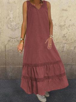 Sleeveless V-Neck Casual Loose Solid Maxi Dress